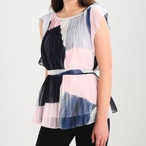 New Banana Republic See Through Pleated Wrap Top